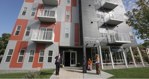 The Greenway Heights Family Housing building, at 2845 Bloomington Ave. S. in Minneapolis, was designed to accommodate larger families in the East Phillips neighborhood. (Staff photos: Bill Klotz)