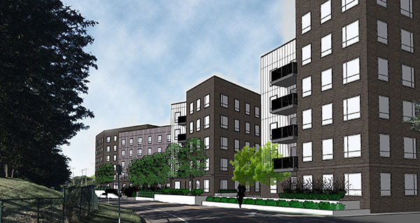 The six-story student housing complex proposed by Elsey Partners would target University of Minnesota students and young professionals working at the school's medical center. It would sit between the Stadium Village and Prospect Park stops on the Green Line, at 117 27th Ave. SE. (Submitted rendering: Prime Design)