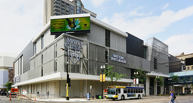 M.A. Mortenson Co. won praise Wednesday for its efforts to transform the former Block E entertainment complex in downtown Minneapolis into Mayo Clinic Square, home to a sports medicine center and training facilities for the Minnesota Timberwolves and Lynx basketball teams. (File photo: Bill Klotz)