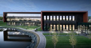 Toro's new office building in Bloomington boasts an understated exterior of architectural metal panels and precast concrete. (Submitted images: Ryan Companies US Inc.)
