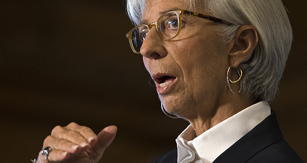 Christine Lagarde speaks during an event hosted by the Council of the Americas in Washington, Sept. 30, 2015. (AP Photo: Evan Vucci)