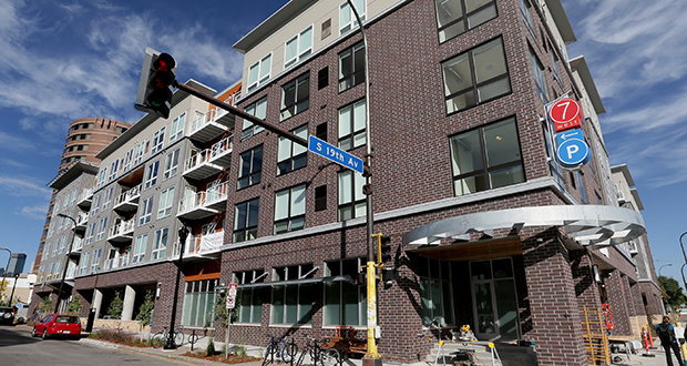 Business partners Curt Gunsbury and Robb Miller developed the 7West apartments on the former site of Grandma's Saloon and Grill near the University of Minnesota campus in Minneapolis. File photo: Bill Klotz