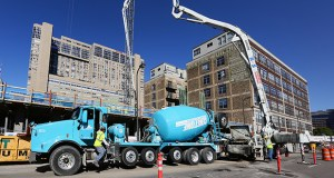 The Twin Cities in September posted a monthly increase in permits for new multifamily construction, including this Portland Tower condominium tower under construction on the northwest corner of Eighth Street and Portland Avenue in Minneapolis. File photo: Bill Klotz