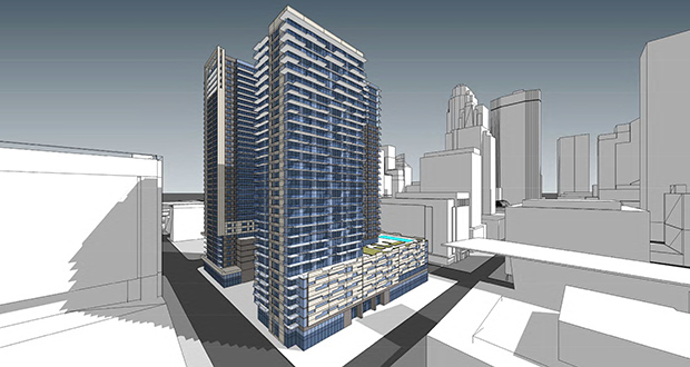 Opus Development is planning a 30-story, 368-unit residential building on the northeast quadrant of Nicollet Mall and Fourth Street south (foreground) and could later build a twin residential tower (background) or an office tower. (Submitted image)