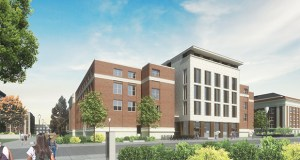 The University of Minnesota's Tate Science and Teaching building will get this new entrance facing Church Street as part of a $92.5 million renovation. The U of M officially broke ground on the project this week. (Submitted rendering: U of M/Alliiance)