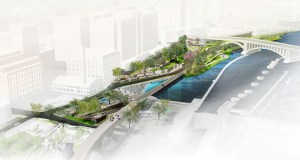Water Works, the 4-acre park set for a riverside swath between Portland Avenue South and the Third Avenue bridge, carries a $26.8 million price tag. Park officials greenlighted a framework Wednesday that will seek to cover much of that through philanthropic donations. (Submitted rendering: Minneapolis Parks Foundation)