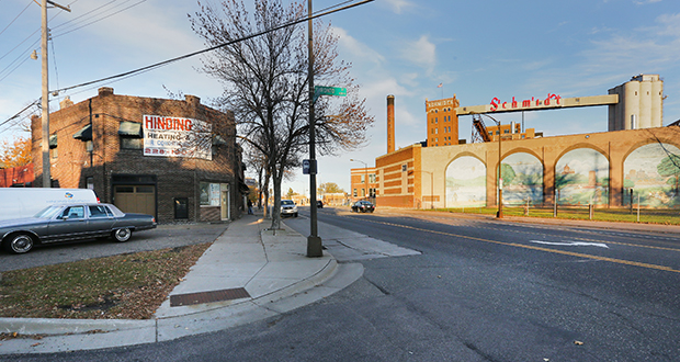 The Schmidt Brewery complex sits along West Seventh Street in St. Paul. The city has proposed including the old brewery site and the area surrounding the complex in the existing tax increment financing district for the Koch-Mobil redevelopment area. Staff photo: Bill Klotz