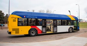 The first of 12 special buses arrived last month for the A Line bus rapid transit route, which will run from Rosedale Mall in Roseville through St. Paul on Snelling Avenue and Ford Parkway to the Blue Line's 46th Street Station in Minneapolis. Submitted photo: Metro Transit