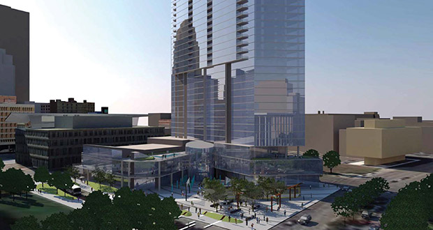 Bloomington-based United Properties plans to update project renderings this spring for the Gateway project it plans to build on the Nicollet Hotel block at 30 Third St. S. in downtown Minneapolis. (Submitted rendering: ESG Architects)