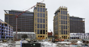 Wells Fargo's new Downtown East towers, shown here under construction in December 2015, earned the company a 2016 Progress Minnesota award. The two 17-story office towers anchor the development, which will include 26,000 feet of retail space and a 4.2-acre public park. File photo: Bill Klotz