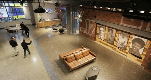 TPT's sprawling 6,000-square-foot lobby offers seating areas, wall monitors and a big screen that has served as a backdrop for TPT's popular Lowertown Live and for special screenings of popular shows. Staff photo: Bill Klotz