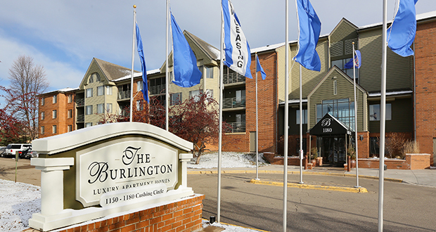 The Burlington, a 427-unit Class B apartment complex at 1180 Cushing Circle in St. Paul, was built in 1988. It's named after the Burlington Northern Railroad line about a half-mile to the south. Staff photo: Bill Klotz