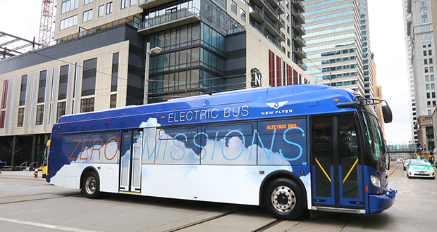 Metro Transit has studied electric buses, including Winnipeg-based New Flyer buses (pictured). The agency is aiming to add five electric buses to its fleet along with charging infrastructure in the coming years. File photo: Bill Klotz