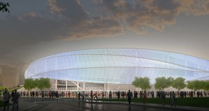 The Minnesota United FC soccer stadium is expected to anchor a massive redevelopment of the surrounding 25 acres, currently home to the Midway Shopping Center and expansive parking lots. (Submitted image: Minnesota United FC)