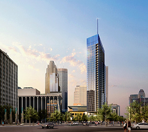 United Properties aims to bring the Four Seasons Hotel brand to the Twin Cities market in its latest proposal for redeveloping the Nicollet Hotel block at 30 Third St. S. Submitted rendering: ESG Architects