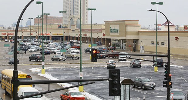 New York-based RK Midway, which owns the land surrounding the proposed Minnesota United FC soccer stadium, has outlined plans to redevelop Midway Shopping Center strip mall and large parking lots into new housing, offices and retail. (File photo: Bill Klotz)