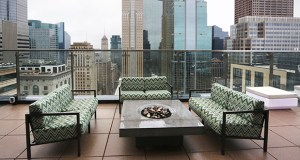 A wrap-around patio on 4Marq's 31st floor provides spectacular views of downtown Minneapolis for all the apartment building's residents. (Staff photo: Bill Klotz)