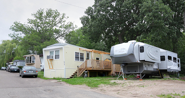 The land underneath 95 mobile homes was sold June 13 to Wayzata-based Continental Property Group, but nonprofit Minneapolis developer Aeon claims in a lawsuit filed Monday that the sale violates state law. (Staff photo: Bill Klotz)