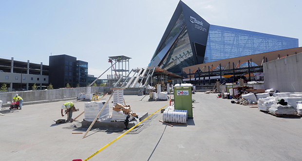 The $1.11 billion U.S. Bank Stadium is nearing completion, with its grand opening scheduled for July 23. (File photo: Bill Klotz)