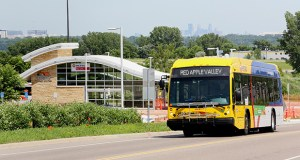 A Red Line bus rapid transit vehicle leaves the Cedar Grove Transit Station at 4035 Nicols Road in Eagan. The line and its operations are partially funded by the Counties Transit Improvement Board, but that could change after Dakota County voted to leave the regional transit funding board. (File photo: Bill Klotz)
