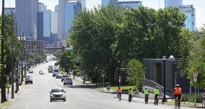 Metro Transit is studying whether the planned C Line rapid bus alignment between Minneapolis and Brooklyn Center should shift from Olson Memorial Highway to Glenwood Avenue, pictured, leading out of downtown. In 2021, the Blue Line Extension light rail transit route is also set to run along Olson Memorial Highway. (Staff photo: Bill Klotz)