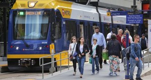 Light rail passengers on Thursday leave the Nicollet Mall Station in downtown Minneapolis. The Metropolitan Council is weighing options to provide easy transit access to building owners and employers in the area during a federal investigation in the city's transportation management organization, Move Minneapolis. (Staff photo: Bill Klotz)