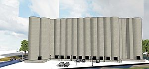 A rendering shows plans to convert a long-empty grain silo into storage units a few blocks south of the 38th Street Station served by the Blue Line light rail transit route along Hiawatha Avenue. The elevators would only offer units on the ground level. (Submitted rendering: Tanek)