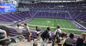 U.S. Bank Stadium's clubs and prominent design features, including a light-emitting ETFE roof over the stadium bowl, were on display during a media tour Tuesday. A public open house is set for this Saturday and Sunday. (Staff photo: Bill Klotz)
