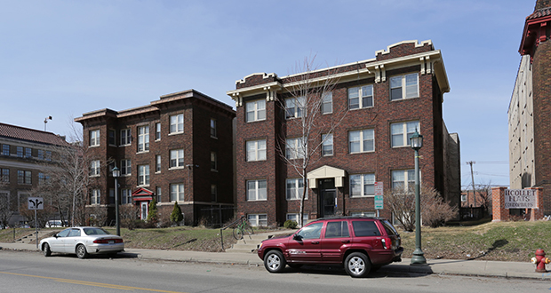 Maven Real Estate Partners, with offices in Chicago and Minneapolis, has paid $4.1 million for these apartment buildings at 2222 and 2300 Nicollet Ave. S. in Minneapolis, with plans to add value by investing in improvements and strengthening rents. (Submitted photo: CoStar)