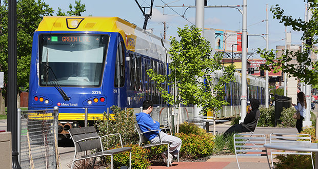 The Southwest light rail transit route between Minneapolis and Eden Prairie would be an extension of the Green Line starting at Target Field Station in downtown Minneapolis. (File photo: Bill Klotz)