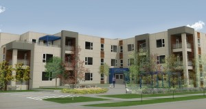 Conceptual art of The Uptown, a 29-unit apartment building planned for Rochester's Uptown district, shows redesigned landscaping modified to comply with city development conditions and land use limitations in a MnDOT right of way. (Submitted image: CRW Architecture)