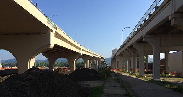 The new Highway 43 Winona Bridge over the Mississippi River, left, is scheduled to open ahead of schedule this month. But a planned rehab of the adjacent existing bridge is lagging behind. (Submitted photo: MnDOT)
