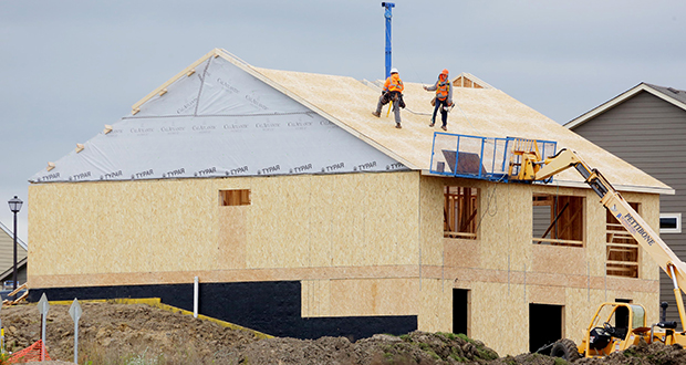 Permits soared in September for new single-family houses, such as this one under construction within the Cedar Landing development by CalAtlantic Homes in Lakeville. Lakeville issued 36 permits for 44 new housing units in September. (Staff photo: Bill Klotz)