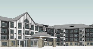 Dominium in September broke ground on this 184-unit affordable senior housing development at 11635 Theatre Drive in Champlin. (Submitted rendering: BKV Group)