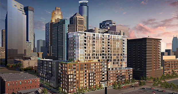 This mixed-used redevelopment of the Kraus-Anderson block in downtown Minneapolis is on track for completion in summer 2018. The block is bounded by Portland and Fifth avenues, and Eighth and Ninth streets. (Submitted rendering: ESG Architects)