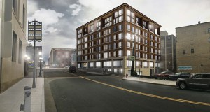 Developer Norm Bjornnes is planning this 70-unit apartment building on an existing surface parking site at 244 E. Fourth St. next to Union Depot in downtown St. Paul's Lowertown area. (Rendering: Kaas Wilson)
