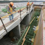 One of several gaps in the bridge that will have concrete poured into them.