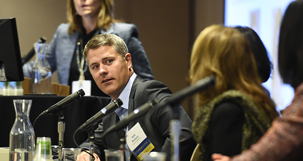 Kirk Nielsen, managing director of the Eden Prairie office of Versant Ventures, talks about how medical technology companies can compete for investment money at the Minnesota Venture Conference on Thursday in Minneapolis. (Photo: Craig Lassig)