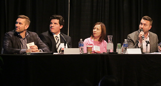 Brandon Champeau of United Properties (far right), shares his perspective on how commercial developers think about architectural design during a panel discussion at the AIA Minnesota conference in Minneapolis, Nov. 10, 2016. He was joined by, from left to right, Brian Woolsey of Cushman & Wakefield/NorthMarq, Carl Runck of Ryan Cos. US Inc., and Maureen Michalski of Schafer Richardson. (Staff photo: Bill Klotz)