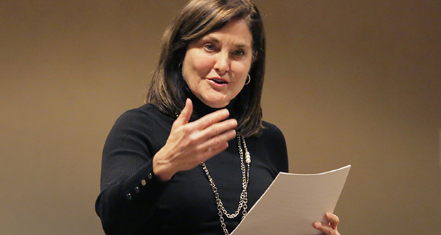 Jean Kane, CEO of Welsh and Colliers, speaks about what it takes to be successful in the commercial real estate industry at a recent event at the University of St. Thomas' Opus College of Business in Minneapolis.  (Staff photo: Bill Klotz)