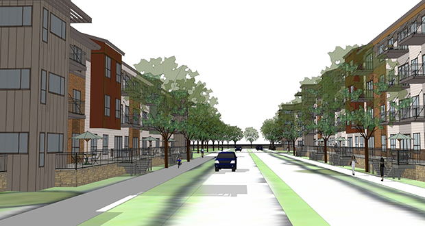 St. Louis Park-based Anderson Cos. was recommended for $1.36 million in funding to build the 204-unit Cedar Point South apartments, at the corner of 66th Street and 17th Avenue in Richfield. (Submitted Rendering: Popo Architects)
