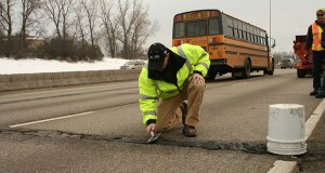 Researchers from the University of Minnesota-Duluth's Natural Resources Research Institute are refining new technologies for fixing potholes, such as this fix on Interstate 35. (Submitted photo: NRRI)