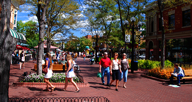 """This scene from the Pearl Street Mall in Boulder, Colorado, is one of several """"inspirational"""" images SEH designers have put in front of a group planning public spaces in Rochester's St. Marys sub-district. (Submitted photo)"""