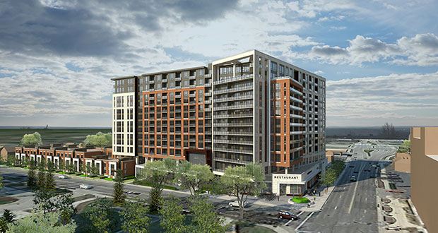 Minneapolis-based Alatus LLC's proposed 13-story mixed-use tower on the 1400 block of Second Street Southwest in Rochester has received one of the last required sign-offs needed from the Destination Medical Center Corp. board of directors. (Submitted rendering: ESG Architects)