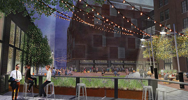 United Properties is planning an outdoor plaza between its 10-story office project and the adjacent Loose-Wiles building it owns on the 700 block of Washington Avenue North in the North Loop of Minneapolis. (Submitted rendering: Hartman-Cox Architects, LHB Inc.)