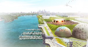 Bloomington-based United Properties is leading a team including Thor Construction and First Avenue Productions to redevelop 48 acres of land along the Mississippi River in North Minneapolis for a 10,000-seat amphitheater, 1,000 residences, 150,000 square feet of office space, manufacturing sites, and room for shopping and dining spots. (Submitted graphic: Coen + Partners)