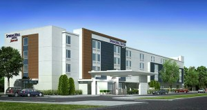 This rendering shows the corporate prototype design for SpringHill Suites hotels, which Willmar-based TPI Hospitality is modifying for a site in the Village at Arbor Lakes project in Maple Grove. (Submitted image: TPI Hospitality)