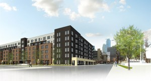 Construction on an affordable housing complex at 815 S. Sixth St. in Minneapolis cannot begin until the development team secures additional funding. (Submitted image: UrbanWorks)