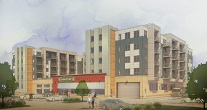 Miracle Mile LLC plans to redevelop a portion of Rochester's Miracle Mile strip center into apartments and a grocery store. (Submitted rendering: Kass Wilson Architects/WSB & Associates)