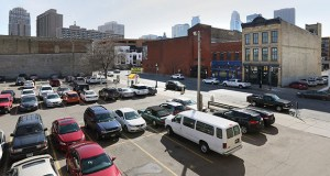 Developer Howard Bergerud plans to use a parking lot he acquired at 110 and 120 First St. N. in Minneapolis' North Loop as future development property. The property is across a three-story building at 121 First St. N. Bergerud purchased last fall. (Staff photo: Bill Klotz)